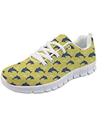 c4910f655e5 POLERO Women s Sneaker Running Shoes Breathable Sneakers lace-up Athletic  Shoes with Dog Pattern Yellow