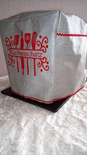 Abdeckhaube*Schutzhaube*Husse*Cover Thermomix TM5 Silber/Rot Küchenschatz Neu