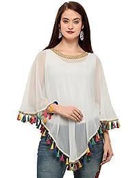 Chakudee Fashion Women's Georgette Poncho Top (Poncho Georgette Off Off-White_Off-White_Free Size)