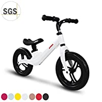 "COEWSKE 12"" Balance Bike Magnesium Alloy No Pedal Walking Balance Training Bicycle for Kids and Toddlers 2 to 5 Years (White)"