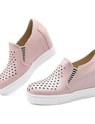 ZQ gyht Scarpe Donna-Mocassini-Tempo libero / Formale / Casual-Zeppe / Plateau / Punta arrotondata-Zeppa-Finta pelle-Blu / Rosa / Bianco / Beige , pink-us6 / eu36 / uk4 / cn36 , pink-us6 / eu36 / uk4  pink-us6.5-7 / eu37 / uk4.5-5 / cn37