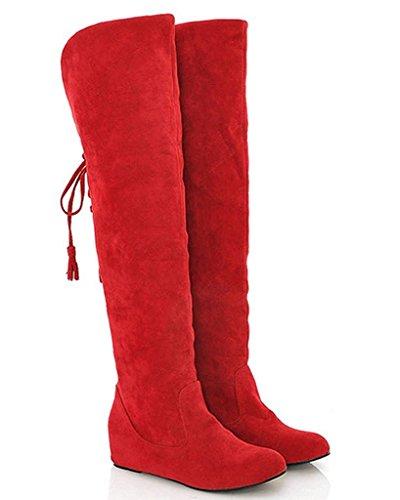 Minetom Damen Winter Warm Schnee Hohe Stiefel Pelzstiefel Flache Schuhe Overknee Stiefel Rot 41 (Winter-schnee-stiefel)