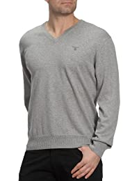 GANT Herren Pullover LT. WEIGHT COTTON V-NECK, Einfarbig