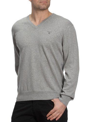 GANT Herren Pullover LT. WEIGHT COTTON V-NECK, Einfarbig Grau (GREY MELANGE 93)
