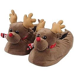LoveLeiter Unisex Plüsch Baumwolle lustige Haus Hausschuhe Winter Warm Indoor Weihnachten Hausschuhe Schuhe Kindergeschenk Weihnachten Mädchen Junge Kreatives Geschenk Neuheit (Braun,M)