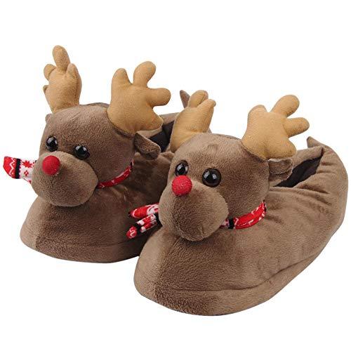 üsch Baumwolle lustige Haus Hausschuhe Winter Warm Indoor Weihnachten Hausschuhe Schuhe Kindergeschenk Weihnachten Mädchen Junge Kreatives Geschenk Neuheit (Braun,M) ()
