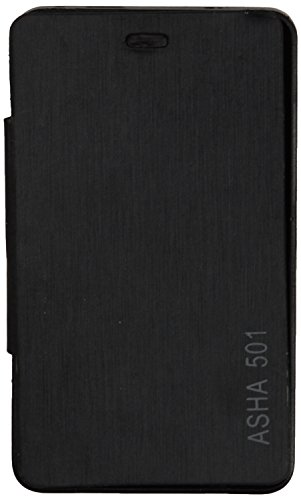 iCandy™ Synthetic Leather Flip Cover For Nokia Asha 501 - BLACK  available at amazon for Rs.180