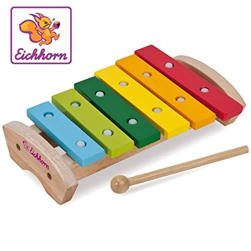 Eichhorn 100005075 - Holz Xylophon, 24x15cm, 6x Holznoten, Klöppel