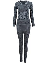 SODIAL(R)Mujer Cuello redondo Conjunto termico Invierno Chaqueta&pantalones larga ropa interior Conjunto de Pijama Gris