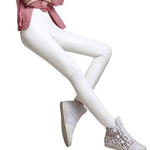 Hibote Hohe Taille PU Leder Leggings Sexy Dünne Leder Leggins Knöchellangen Stretchy Hosen für Frauen Weiß 4XL