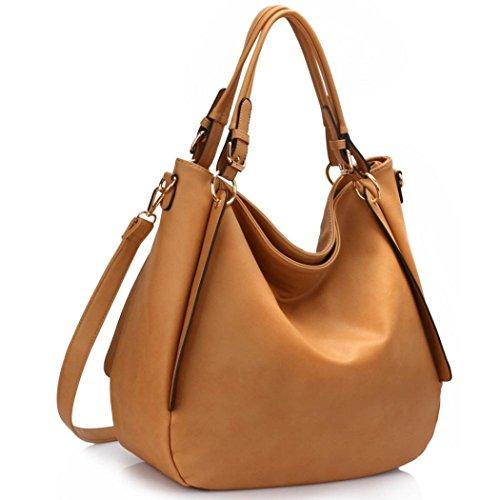 LeahWard Große Umhängetaschen für Damen Soft Kunstleder Hobo Tasche Handtaschen A4 Ordner 448 (Nude Hobo) - Chloe Hobo