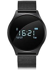 Reloj Pulsera Inteligente Para IOS 8.0 y Android 4.3 (Ritmo Cardíaco, Monitor Sueño, Podómetro Calorías, Recordatorio Llamada / SMS, Recordatorio Sedentario,Monitor Presión Arterial, IP67Impermeable)