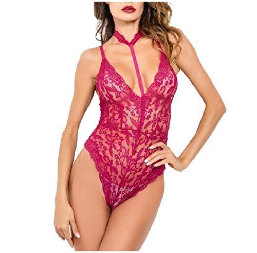 CuteRose Women Sexy Deep V Neck Bodysuit See-Through Halter Blouse Tops Red XS -