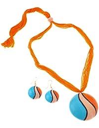 More Bangla Women's Pride Puja Bahaar Terracotta Jewellery Set (Orange)