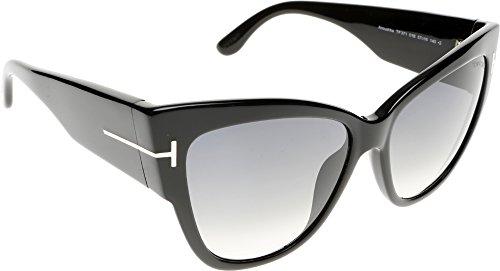 Tom Ford Damen FT0371 01B 57 Sonnenbrille, Schwarz (Nero Lucido/Fumo Grad),