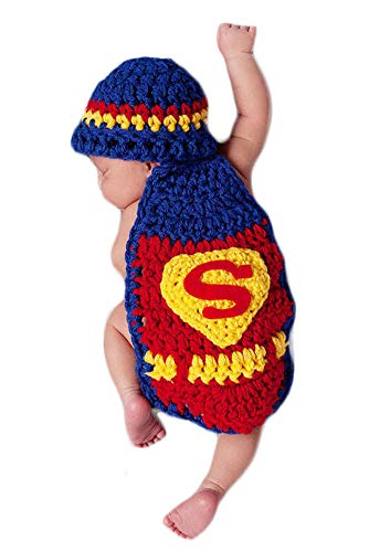 Neugeborenes Baby Häkeln Kostüm Outfits Fotografie Requisiten Superman Outfit Mantel+Hut 0-6 Monate (Superman Baby Kostüm)