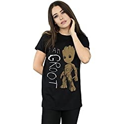 Marvel mujer Guardians Of The Galaxy I Am Groot Scribbles Camiseta Del Novio Fit Small Negro