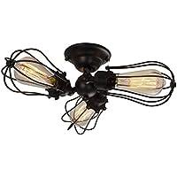 Retro Vintage Plafón, motent de la Industria industriales lámpara techo araña de pomelo Art lámpara colgante con 3luces Ceiling Lámpara para cocina Sótano, Typ A, E27 40.00 W 240.00 voltsV