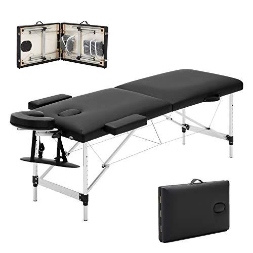 Meerveil mobile Massageliege klappbare Therapieliege tragbares Massagebett leichter Massagetisch 2 Zonen mit höhenverstellbaren Aluminiumfüße, Schwarz -