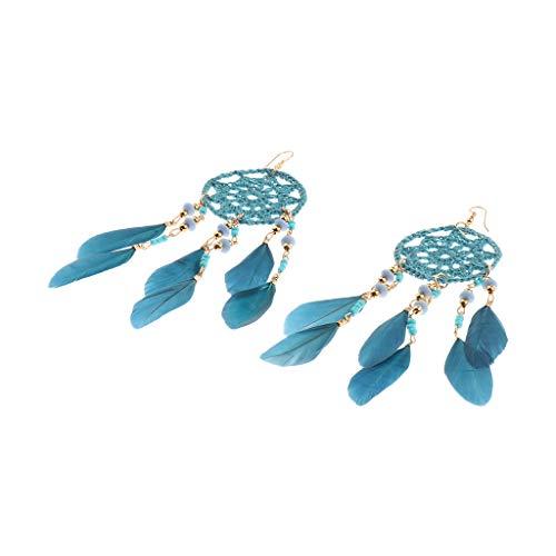 P Prettyia Pendientes Atrapasueños con Pluma Artificial Accesorios de Moda para Mujeres - Lago Azul