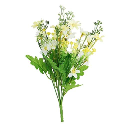 hte Cineraria künstlichen Blumenstrauß Hause Büro Dekor (Hell gelb und weiß) ()