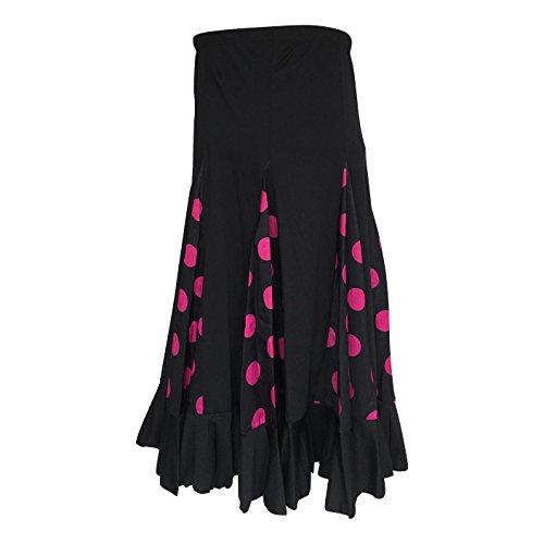 La Señorita Falda Flamenco Danza Sévillane niña negro con puntos rosa (Talla 6 - 5/6 año)