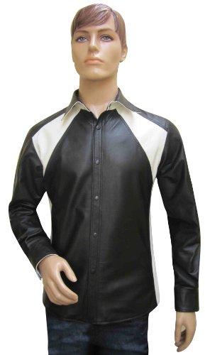 Bespoke Tailored in pelle–Uomo In Pelle Nappa con due colori–sheep - Black with Black