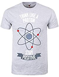 Grindstore Men's Think Like A Proton, Stay Positive T-Shirt Grey