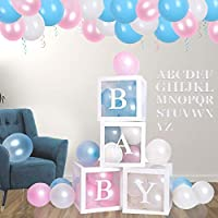 ‏‪Gender Reveal Party Supplies | Baby Shower Boxes Decorations For Girl Boy, A - Z Letter Boxes Birthday Decorations, Transparent DIY Name Combination Letter Blocks Birthday Baby Shower Boxes‬‏