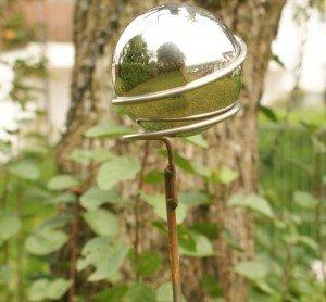 Gartendeko Lolly Pop Deko Kugelstab 150cm mit 1 Edelstahlkugel 100 mm