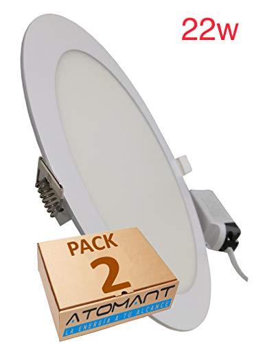 LA Pack x2 Panel Downlight Led Redondo de 22W, 2000 LUMENES REALES, color de luz Blanco frio 6500K...