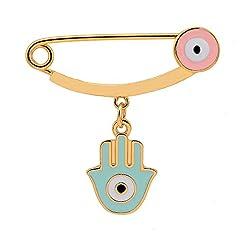 Idea Regalo - Spilla smaltata per ragazze, placcata in oro 18 ct, motivo: mano di Hamsa, occhio del diavolo, gioiello porta fortuna