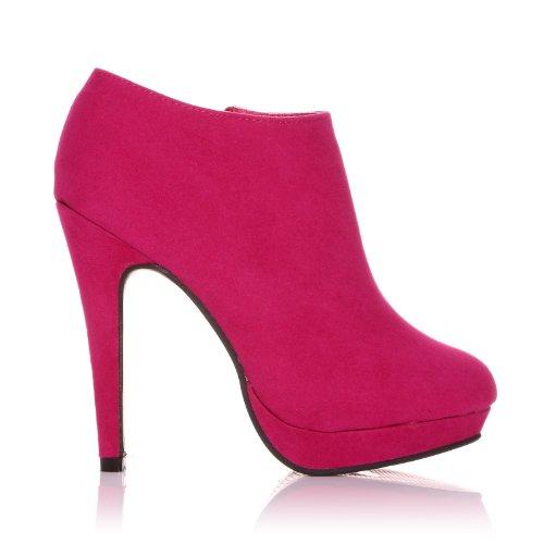 H20 scarpe stivaletto da donna in finta pelle scamosciata fuchsia con tacco a spillo molto alto scamosciata fuchsia