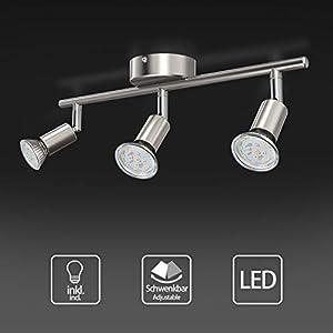 Uchrolls LED Deckenleuchte Schwenkbar, 3 Flammig, inkl. 3 x 5W Leuchtmittel GU10 LED, 400LM, Warmweiß, LED Deckenlampe LED Deckenspot LED Deckenstrahler LED Leuchte