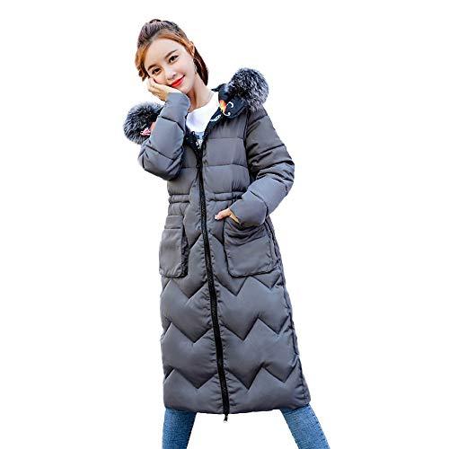 Zolimx Frauen Wintermantel Daunenjacke Damen Fell Kapuzenjacken Lange Puffer Parka zweigesichtige mit Baumwolle bezogene Slim-Steppmantel (Grau, S) - Mantel Frauen Peak