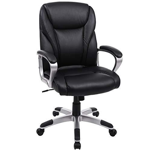 Songmics sedia da ufficio ergonomica, sedia da ufficio direzionale, sedia girevole da 360 gradi, sedia con schienale medio, meccanismo di inclinazione, capacità di carico 120 kg, pu, nero obg34bk