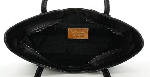 JS Damen Shopper Schultertasche Freizeittasche Schwarz Schwarz