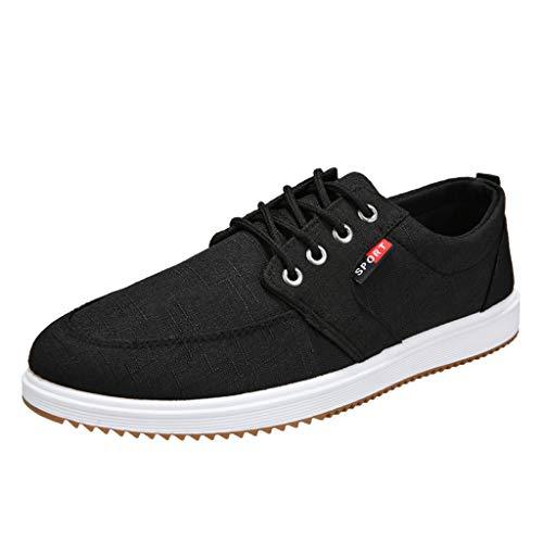 er Wohnungen Lace-Up Canvas Schuhe Lässige Uniform College Low Top Mode Komfortable Turnschuhe Closed Toe Trainer für Männer Plus Größe Grau Schwarz Blau ()