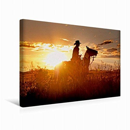 Premium Textil-Leinwand 45 cm x 30 cm quer Zu Pferd durch Montana, USA | Wandbild, Bild auf Keilrahmen, Fertigbild auf echter Leinwand, Leinwanddruck