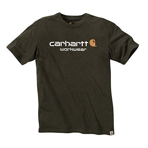 Carhartt Core Logo T-Shirt S/S - Baumwoll T-Shirt - Green Heather-crew-t-shirt