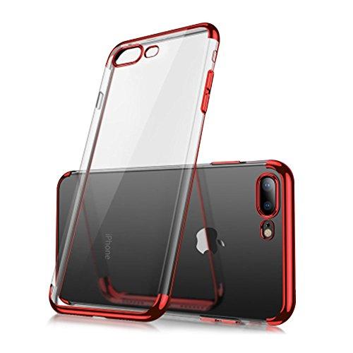 Cover iphone 6,custodia per iphone 6s trasparente placcatura tpu mobile shell,aearl ultra-sottile slim fit bumper chiaro cristallo clear view tpu morbida silicone antigraffio custodia per iphone 6s 6-rosso