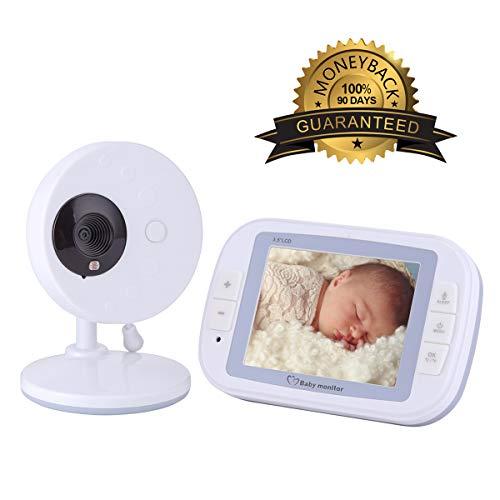 XGLL Video Baby Monitor, LCD TFT da 3,5 Pollici, Conversazione bidirezionale, Temperatura Ambiente, Musica