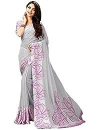 Shailaja Sarees Women's Printed Georgette Satin Patta Saree With Printed Blouse Piece