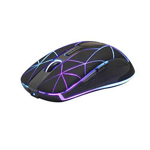 Rii RM200 Kabellose Maus, 2,4 G Wireless Wiederaufladbar Maus mit 5 Tasten, Optische Maus mit USB-Empfänger, 7 LED Beleuchtete für Notebook, PC, Computer (Schnurlos Maus, schwarz)