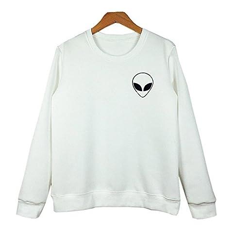 COCO clothing Damen Frühjahr Herbst Aliens Gedruckt Casual Langarm Pullover College Sweatshirt Frauen Rundkragen PulliOberteil Einfarbig Blusen (S, Weiß)