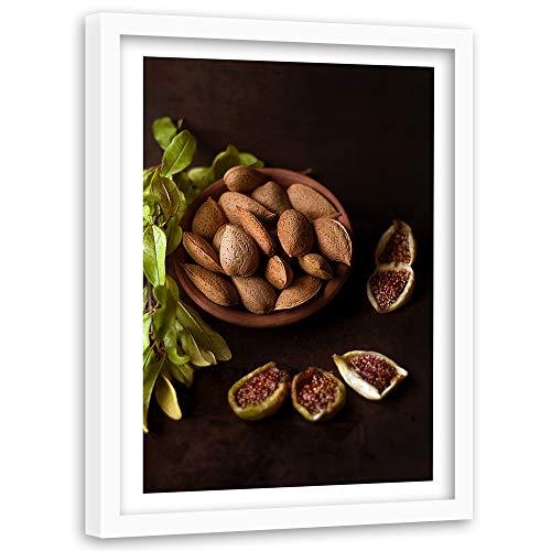 Feeby Wanddeko weißer Rahmen Obst Bild Art Nüsse Küche Braun 60x90 cm