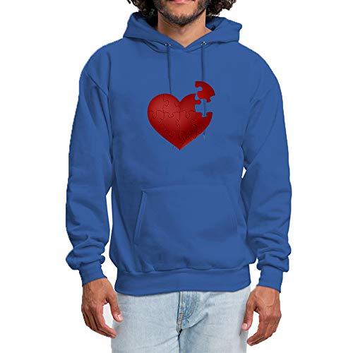 chenjing custom Hoodie Herren Kapuzenpullover mit Love Heart Puzzle Pullover M?nner Hoodies Kapuze Baumwolle Sweatshirt Blau M