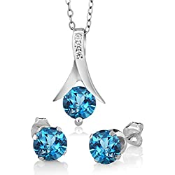 Silver Dew Pure 925 Sterling Silver Solitaire Round Blue Topaz CZ Diamond Rhodium Plated Ladies Women Girls Pendant Earring Set