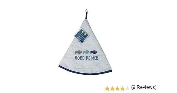 sans 60x60 cm 100/% Coton Le Jardin Des Cigales ESSUIE-Main Ronde 60 CM Eponge Brodee OCEANY