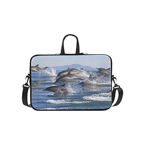 Delphin-Sprung aus den blauen Wasser-Muster-Aktenkoffer-Laptoptasche Kurier-Schulter-Arbeitstasche Crossbody-Handtasche für das Geschäftsreisen - Pacific Pod